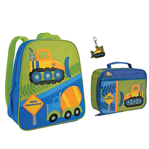 Backpack School Construction - Stephen Joseph Boys Construction Backpack and Lunch Box with Zipper Pull