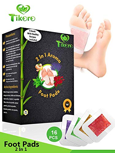Tikoro Foot Pads  for Pain and Stress Relief - Ginger, Lavender, Green Tea, Rose | Premium Aromatherapy Feet Patches | 2 in 1 Upgraded | Natural, Organic 16 pcs | Improve Sleep | Bonus eBook |