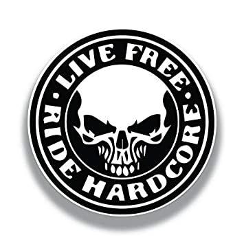 Car Truck Van SUV Window Wall Cup Laptop Two 3 Inch Decals 2 Pack More Shiz Live Free Ride Hardcore Skull Vinyl Decal Sticker MKS1180