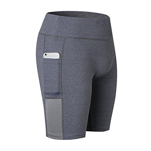 da donna Mxssi Pantaloncini da alta slim a shapewear da Pantaloncini yoga ciclismo palestra da vita Active Grigio da allenamento corsa rxntZn