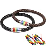 Gay Lesbian Bracelet LGBT 2PCS Couple Rainbow Bracelets Stainless Steel Magnetic Genuine Leather Braided Bangle Cuff
