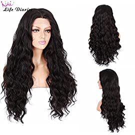 Life Diaries 250% Density Fashion Long Natural Wave 10% Human Hair+90% Heat Resistant Fiber Glueless Lace Front Synthetic Wig For Women(20″,Black)