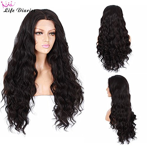Life Diaries 250%Density Fashion Long Natural Wave 10%Human Hair+90%Heat Resistant Fiber Glueless Lace Front Synthetic Wig For Women(26