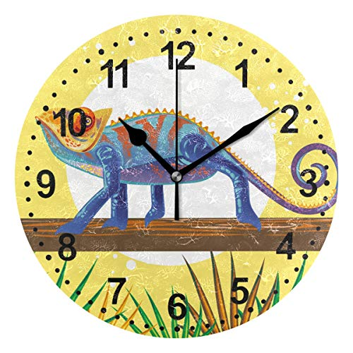 - SUABO Round Wall Clock Silent Non Ticking Home Decorative Home Office School Clock Blue Lizard Painting