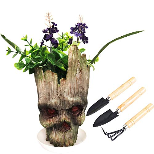 Groot Pencil Holder, Nuokexin Groot Flowerpot Guardians of The Galaxy Angry Groot Action Figures Model Toy Pen Pot Best Halloween Christmas Gifts(1 Plant Saucer and 3 Pieces Mini Gardening Plant Tool) by Nuokexin