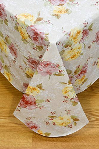 Rose Garden Flannel Backed Vinyl Tablecloth Indoor Outdoor, 60-Inch by 84-Inch Oblong (Rectangle) with Umbrella Hole and Zipper (Umbrellas Oblong Garden)