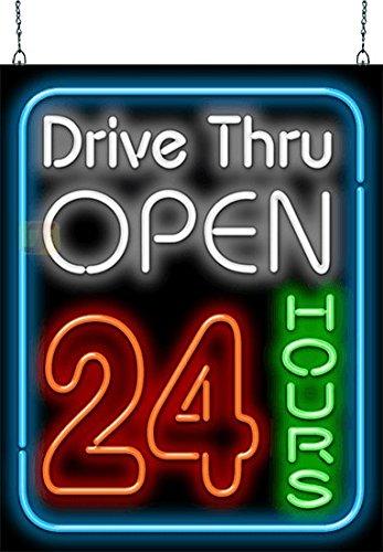 Drive - Thru Open 24 Hours Neon Sign