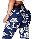 Meilidress Womens Ruched Butt Lifting Leggings High Waisted Workout Sport Tummy Control Gym Yoga Pants (Large, Navy)