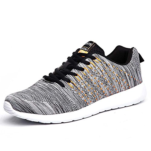 FLARUT Men Women Unisex Casual Sneakers Breathable Outdoor Sports Running Shoes(Grey,46EU)