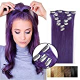 "Hair Extensions Clip in Remy Brazilian Human Hair (20""70g, Purple) Review"