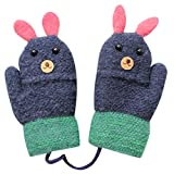 Lavany Cute Little Boys Girls Gloves On String Cute Rabbit Warm Full Finger Mittens (Navy)