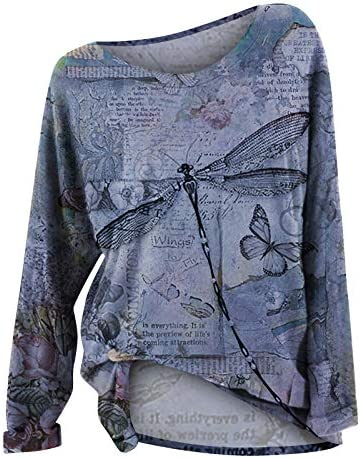 Women Long Sleeve Tshirts, 2021 Womens Plus Size Dragonfly Print Pullover Sweatshirt Tops Casual Loose Bloue Shirts