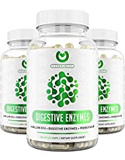 Digestive Enzymes 1000MG Plus Prebiotics & Probiotics Supplement, 180 Capsules, Plant-Based Vegan Formula for Better Digestion. Lactose Absorption with Amylase & Bromelain