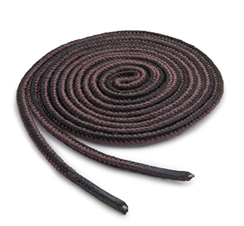 OrthoStep Thin Round Athletic Nylon Black - Brown Combo 45 inch Shoelaces - Fused Tips - Work Boot Laces 2 Pair Pack
