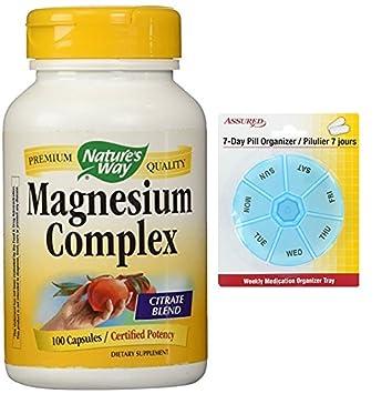 Forma 100 Caps de la naturaleza compleja de 500mg de magnesio con gratis 7 días plástico
