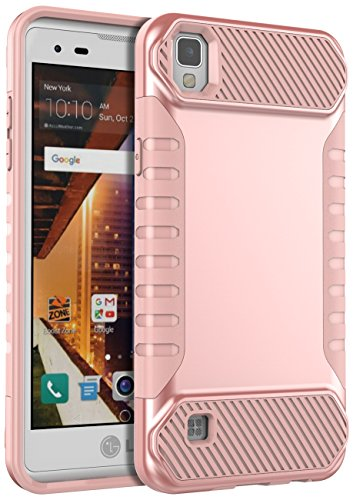 LG Tribute HD Case,LG X Style Case,LG Volt 3 Case,SLMY[Shock Absorption]Slim Fit Heavy Duty Drop Protection Hybrid Armor Defender Cover for LG Tribute HD LS676/LG X Style/LG Volt 3-Rose Gold