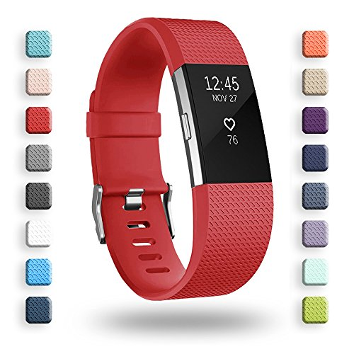 POY Replacement Bands Compatible for Fitbit Charge 2, Classic & Special Edition Sport Wristbands, Red Small, 1PC