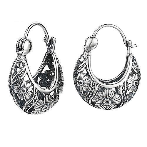 BALMORA 925 Sterling Silver Clip Earrings for Women Filigree Flowers Vintage Party Jewelry (Style 2)