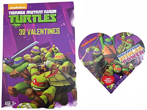 (Teenage Mutant Ninja Turtle 32 Valentines and Chocolate Heart Teacher Gift)