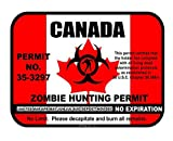 Canada Zombie Hunting Permit License Vinyl Sticker Decal