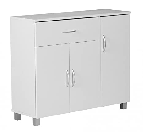 FineBuy Sideboard Jerry 90 x 75 x 30 cm Weiß mit 1 Schublade und 3 Türen |  Moderne Schlafzimmer Kommode | Anrichte Esszimmer mit Standfüßen | Flur ...
