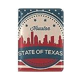 Vintage American Flag Texas State Houston Skyline Leather Passport Cover - Holder - for Men & Women - Passport Case