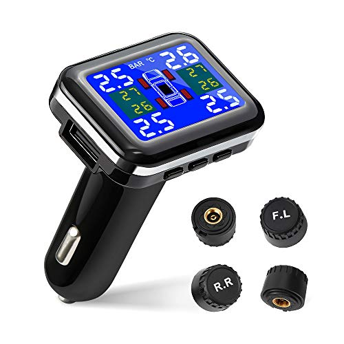Tsumbay TPMS Car Tire Pressure Monitoring System Wireless Real-time Alarm with 4pcs External Sensors (1.1-3.5 Bar/ 16-51 Psi), Temperature and Pressure LCD Display (Best Tire Pressure Monitoring System)