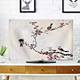 """Auraisehome Dust Resistant Television Protector Stylized Blooming Japanese Cherry Tree Watercolor Painting Effect Artistic Design Print Pink Brown tv dust Cover W20 x H40 INCH/TV 40""""-43"""""""