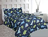 Empire Home Kids 3 Piece Twin Size Sheet Set (Blue Dinosaur)