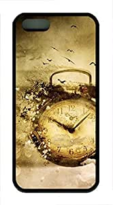 Customized Black TPU Cover Skin for iPhone 5 5S 5G,Soft Case Shell for iPhone 5 5S 5G Covered with Time Clock