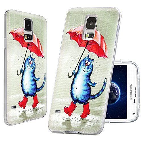S5 Case,Samsung S5 Case,Galaxy S5 Case,ChiChiC [Arty Series] Full Protective Slim Flexible Durable Soft TPU Cases for Samsung Galaxy S5 I9600, cute cat under an red umbrella in the rain