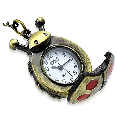 My Daily Styles Fashion Alloy Stainless Steel Ladybug Charm Locket Pocket Watch Necklace, - Ladybug Necklace Watch