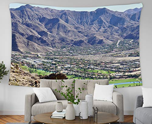Musesh Retro Sailing Ship Tapestry, 80x60 Inch View of Indian Canyon Golf Course in Palm Springs from Hiking Trails in Desert M,Tapestry Wall Hanging for Bedroom Living Room Decor Inhouse