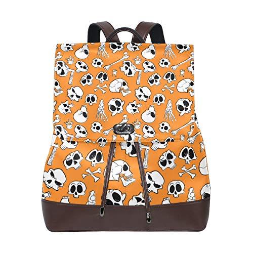 Leather Halloween Skull Image Backpack Daypack Bag Women ()