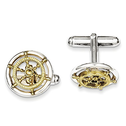 Men's Sterling Silver and 10k Gold Vermeil 16mm Ships Wheel Cuff (Sterling Silver Two Tone Cufflinks)