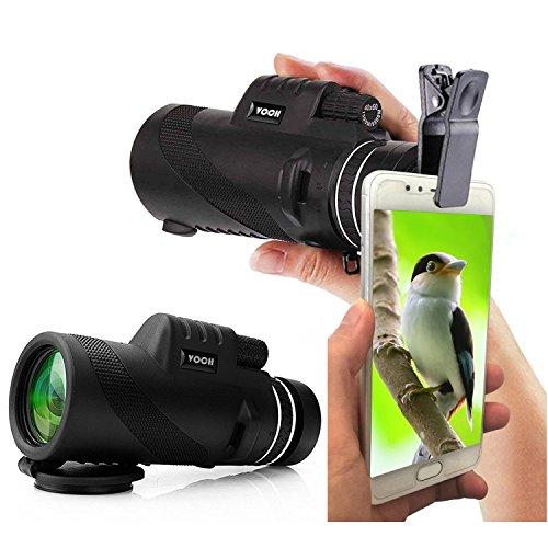 Monocular Telescope, 10X42 High Power Dual Focus Prism Film Optics with Smartphone Clip, Monocular Scope for Birdwatching/Hunting/Camping/Hiking/Golf/Concert/Surveillance