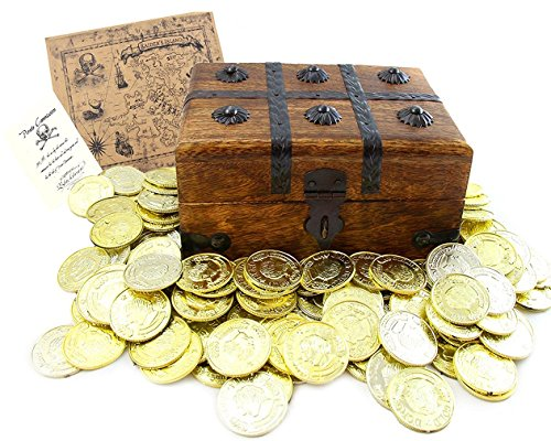 Well Pack Box Wood Pirate Treasure Chest Durable Kids Toy Includes 144 Plastic Gold Coins Real World Paper Pirate Commission Real World Brown Nautical Paper Map For Birthdays and Pirate Costumes