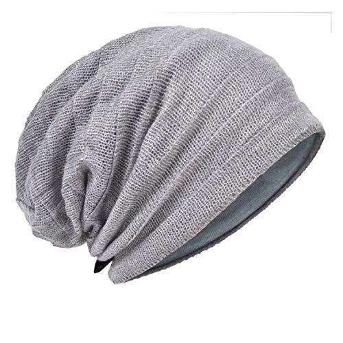 (HISSHE Men's Slouch Slouchy Beanie Oversize Summer Winter Skull Cap N010 (Ruga-Pale))