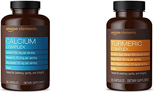 Amazon Elements Calcium Complex with Vitamin D, 250 mg Calcium per Serving 3 Capsules , Vegan, 195 Capsules Turmeric Complex, 400mg Turmeric Curcumin, 140mg Ginger, 10mg Black Pepper, 65 Capsules