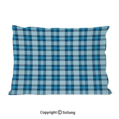 Checkered Bed Pillow Case/Shams Set of 2,Intersecting Stripes and Squares Picnic Themed Tile Pattern in Blue Colors Decorative Queen Size Without Insert (2 Pack Pillowcase 30