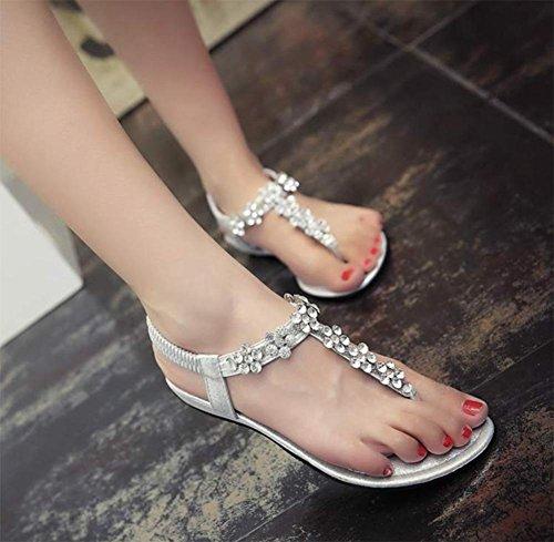 Pedrería De Zapatillas Mujer Silver Femenina Con Planas Verano Sandalias xIwCqdI