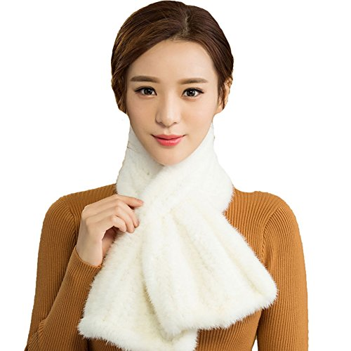 Queenshiny New Style Women's Knitted Mink Fur Scarf White