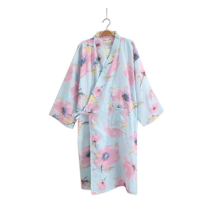 Vestido Kimono Mujer Yukata Albornoz Pijama Azul Flor