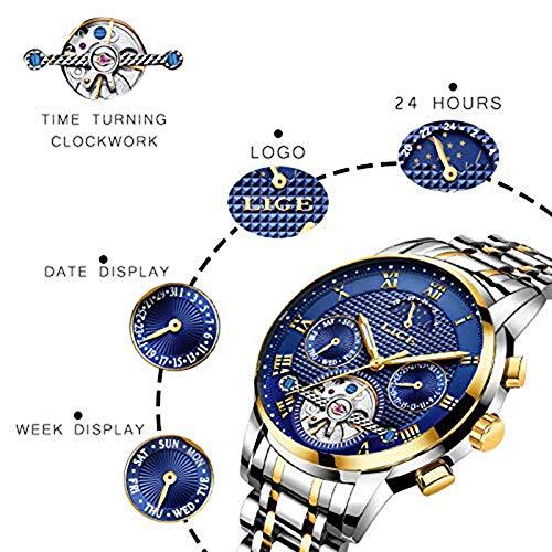 LIGE herrklocka automatisk mekanisk självuppdragande skelett rostfritt stål vattentät armbandsur mode affärer månfas lysande kronograf