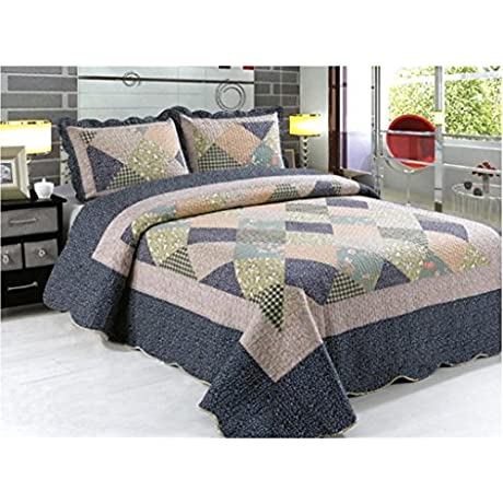 3 Piece Quilted Embroidered Patchwork Bedspread Throw Set Comforter Pillow Case Double King Size Bed