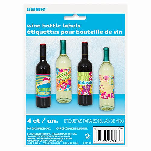 Summer Party Wine Bottle Labels, 4ct -