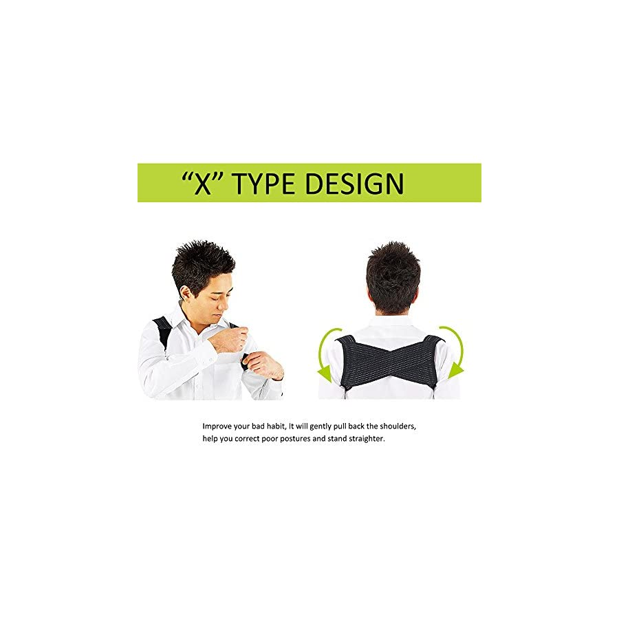 Adecco LLC Back Posture Corrector, Breathable Elastic X Type Clavicle Shoulder Support Belt Prevent Humpbacked Correction Straighten Vest Suit for weight between 45 60kg People