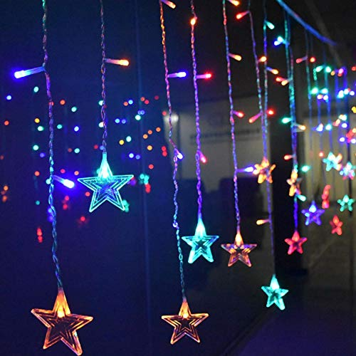 XUNATA Curtain String Lights, String Star Lights 8.2ft 12 Stars 138 LED Starry Fairy Lights for Wedding, Bedroom, Christmas, Party, Bed Canopy, Garden, Patio, Outdoor Indoor (Multi-Color) ()