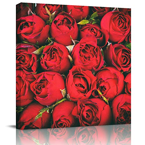 (Miss Sweetheart Canvas Wall Art - Red Rose Bouquet Canvas Artwork Prints Contemporary Wall Art Decor for Home Living Room Bedroom Decoration Office Wall Decor Framed Ready to Hang 24X24In)