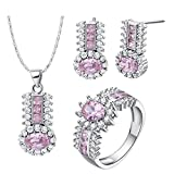 KnSam Women Platinum Plate Necklace Earring Ring Set Oval Pave Pink Size 6 Crystal [Novelty Sets]